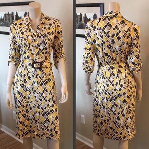 Tory Burch Printed Silk Long Sleeve Dress